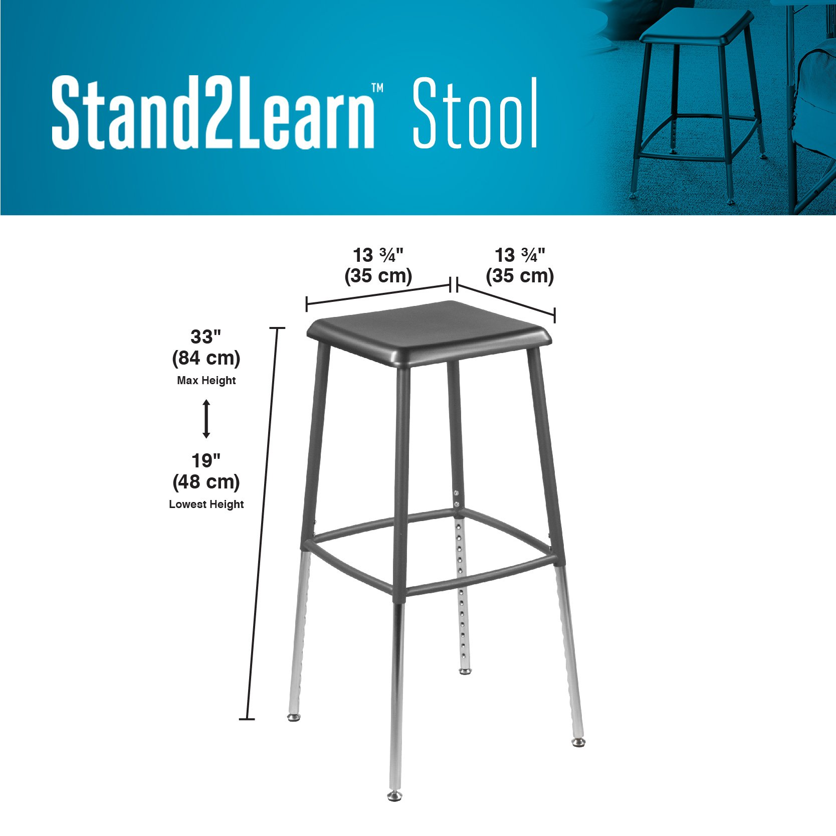 VARIDESK – Stand2Learn Stool – Stackable Flexible Classroom Seating