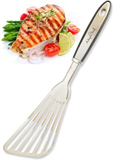 Fish Spatula   AdeptChef Stainless Steel, Slotted Turner   Thin Edged  Design Ideal For