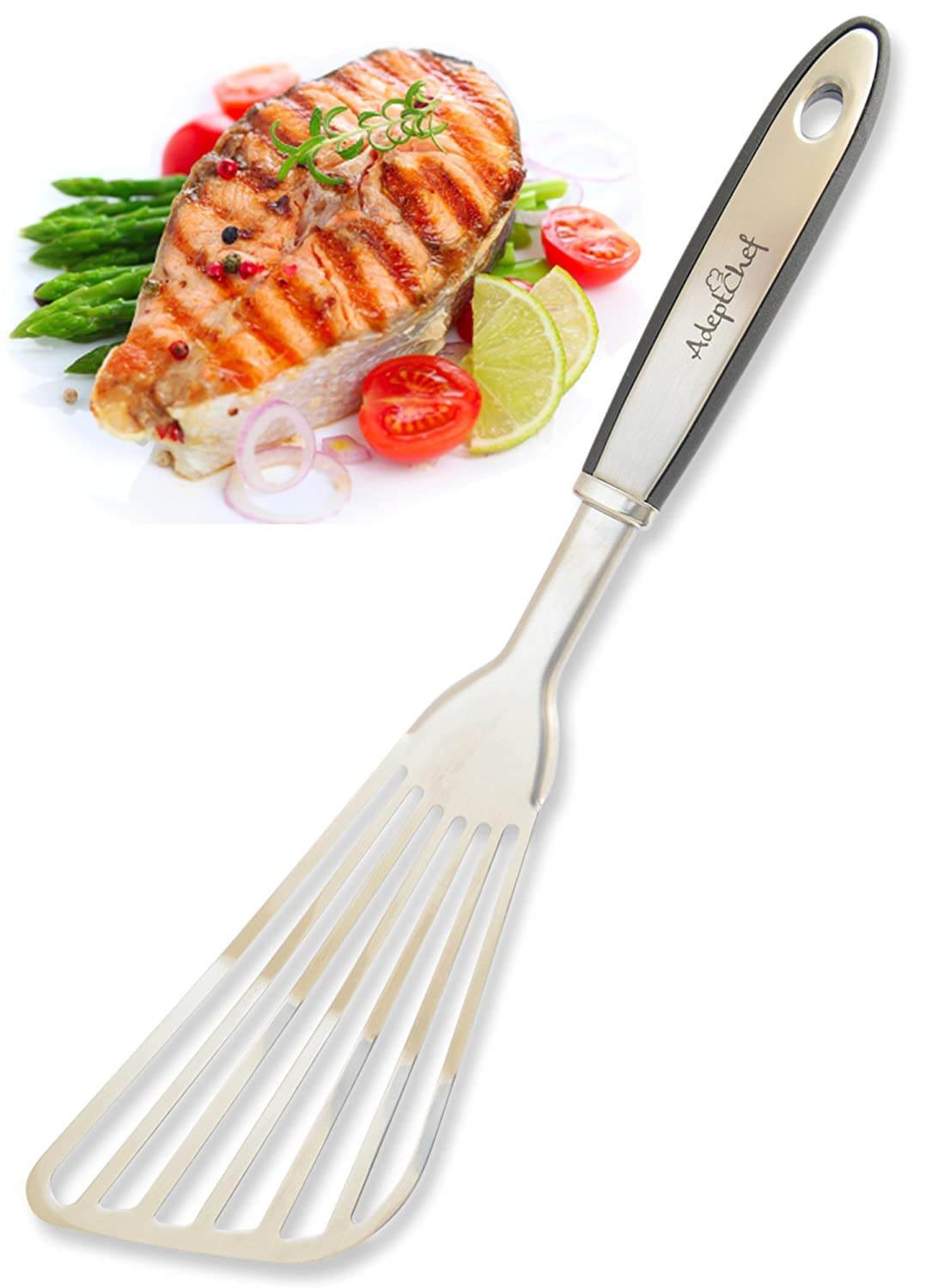 Fish Spatula - AdeptChef Stainless Steel, Slotted Turner - Thin-Edged Design Ideal For Turning & Flipping To Enhance Frying & Grilling - Sturdy Handle, Multi-Purpose - Buy Yours TODAY!