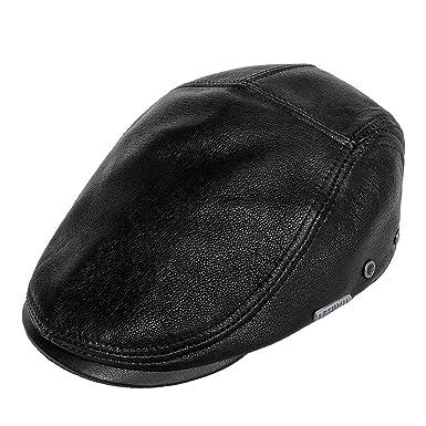 LETHMIK Genuine Deerskin Flat Cap Irish Newsboy Ivy Hat Unique Cabbie  Driving Cap Black-L cbe62e99c958