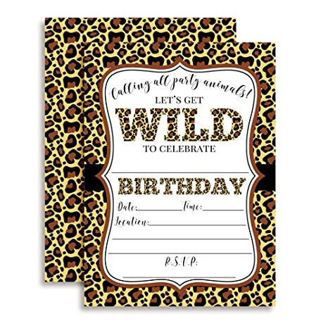 Amazon Com Leopard Print Wild Birthday Party Invitations 20 5 X7