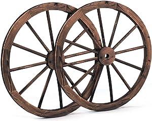 Decorative Vintage Wood Garden Wagon Wheel W/Steel Rim Wall Decor Set Of 2 30 In #TEE1