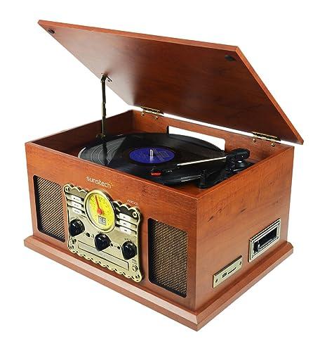 Sunstech PXRC5CDWD - Giradiscos (Bluetooth, CD, Cassette, Encoding, USB, SD, MMC, AM, FM) color madera