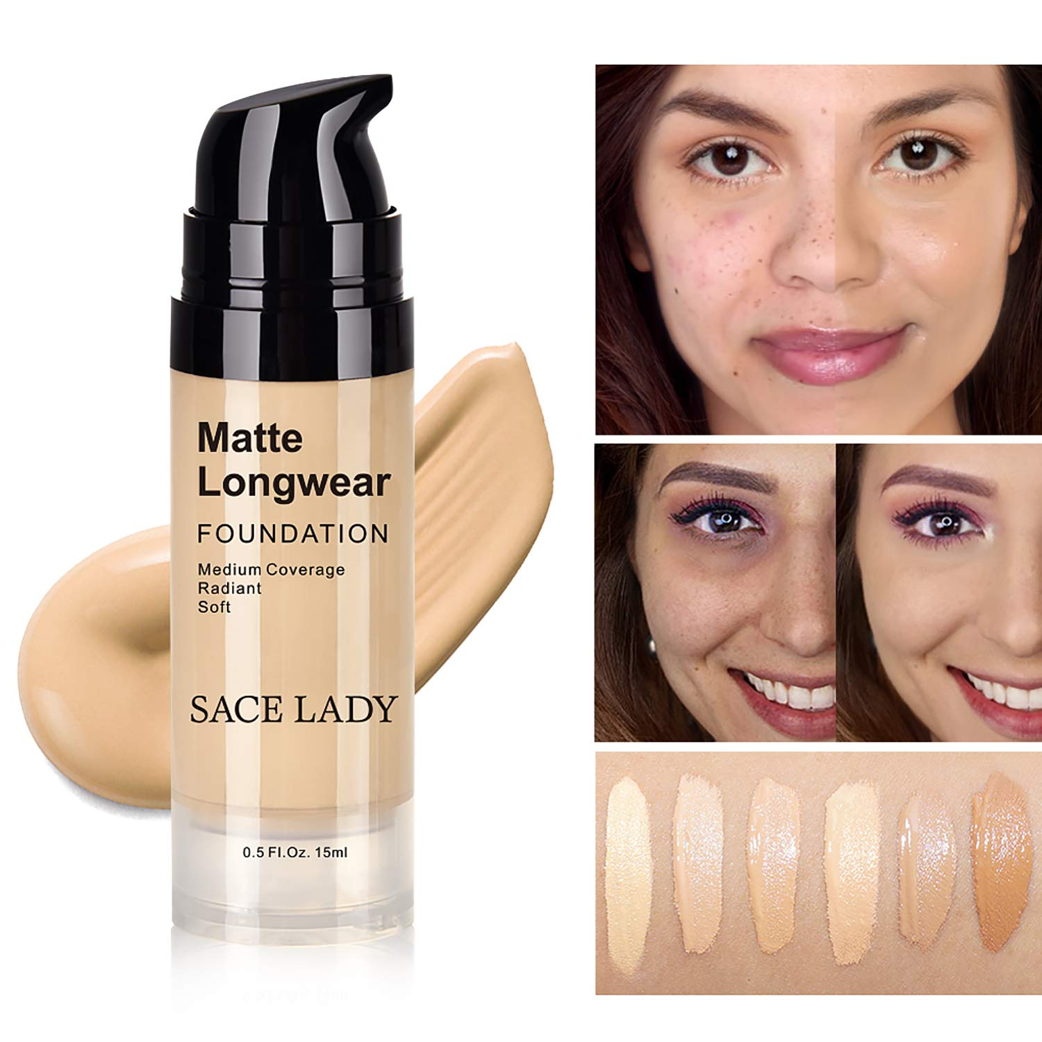 SACE LADY Matte Finish Liquid Foundation, Waterproof Ultra-HD Flawless Fluid Foundation, 0.50Fl Oz/15ml, Light Natural