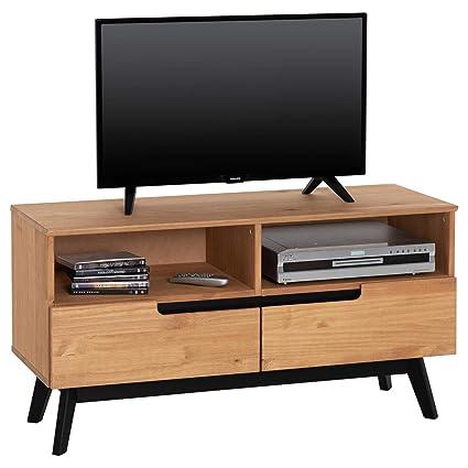 Idimex Meuble Tv Tibor Banc Télé De 109 Cm Au Style Scandinave Design Vintage Nordique Avec 2 Tiroirs Et 2 Niches En Pin Massif Finition Bois Naturel