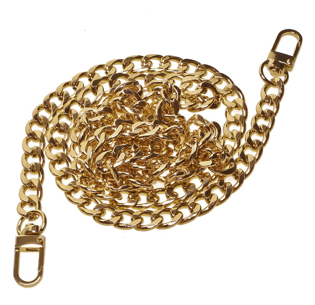 Penta Angel 47 Iron Flat Purse Chain Strap Replacement Gold Plated Metal Bag Chains Accessories with Buckles for DIY Wallet Handbag Clutch Satchel Tote Shoulder Cross Body Bag