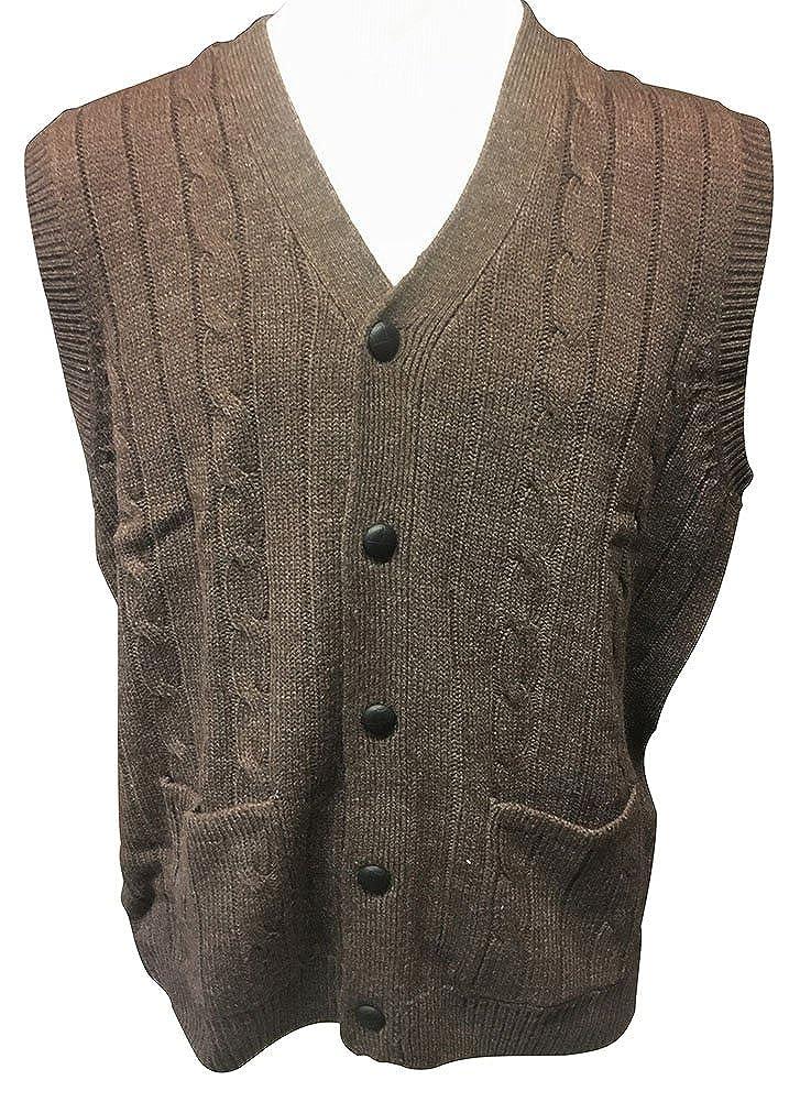 8caaf3d457937 D Avila 100% Acrylic Big and Tall Sleeveless Cable Knit Cardigan ...