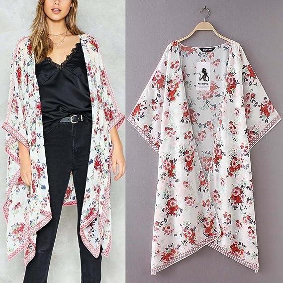 Mujer blusa abrigo Bohemian estampado de playa,Sonnena Mujeres chifón estampado Cardigan de flores largo abrigo Tops traje Kimono cubierta de moda Smock ...