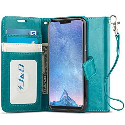 J&D Case Compatible for LG G7 ThinQ/LG G7 Case, [Wallet Stand] [Slim Fit]  Heavy Duty Protective Shock Resistant Flip Cover Wallet Case for LG G7