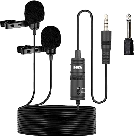 Boya By M1dm Dual Omni Directional Lavalier Microphone Clip On Lapel Condenser Microphone For Dslr Camera Camcorder For Iphone Android Smartphone Audio Recorder Pc And Other Recording Effects Musical Instruments