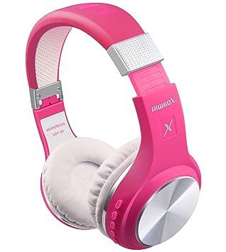 Auriculares Bluetooth inalámbricos de Riwbox, modelo XBT-80; plegable, con micrófono y control de volumen, para teléfonos móviles iPad, iPhone, TV y ...