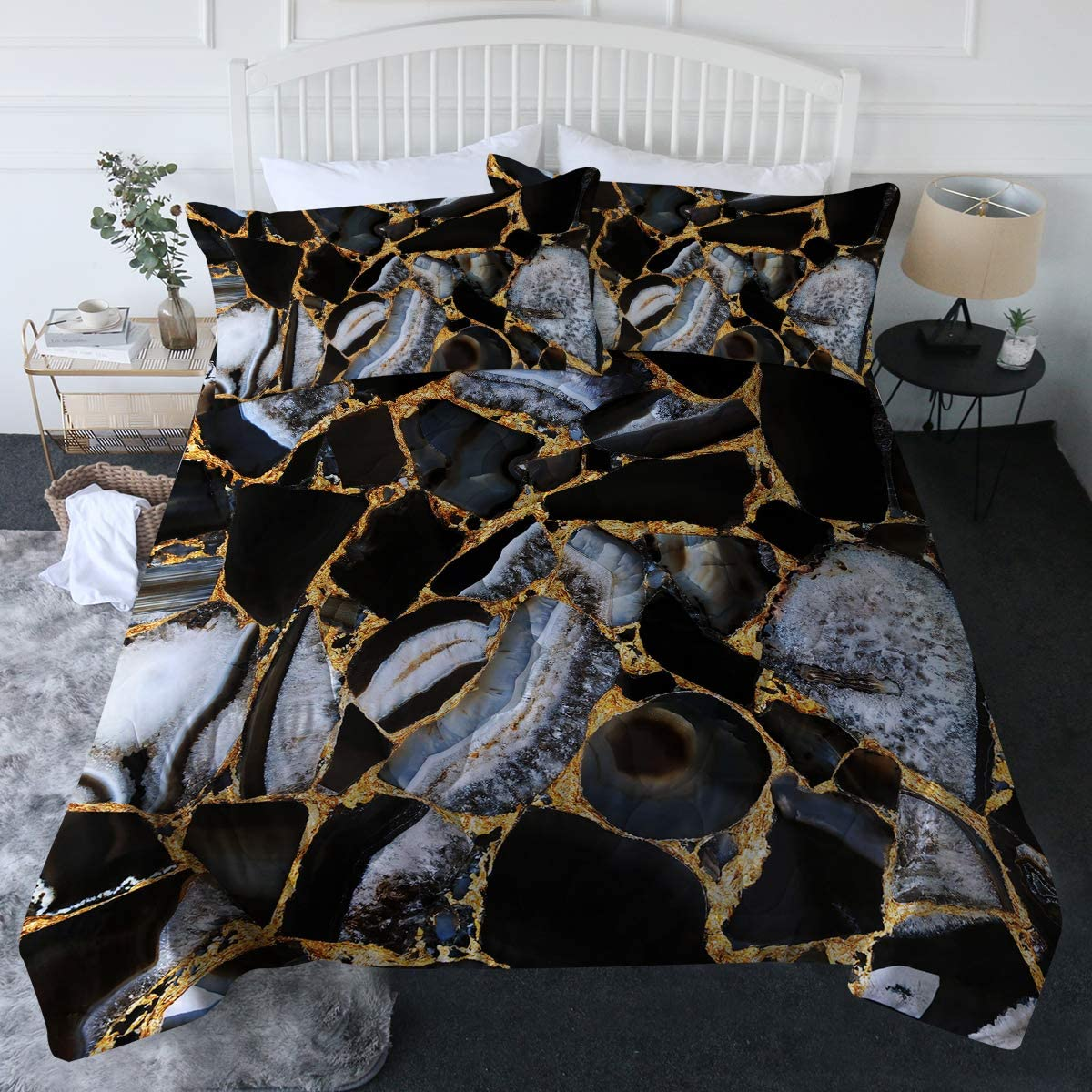 Amazon Com Blessliving 3 Piece Marble Comforter Set With Pillow Shams Blue Gold Marble Bedding Set With 3d Printed Designs Reversible Comforter Full Queen Size Soft Comfortable Machine Washable Home Kitchen