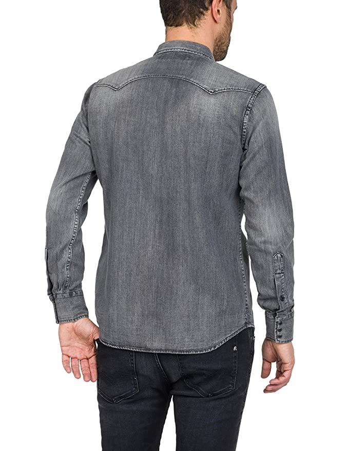 1e7b63b83b0 Replay Men s Denim Shirt  Amazon.co.uk  Clothing