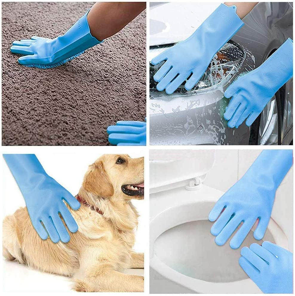 Magic Silicone Dishwashing Gloves with Wash Scrubber,Multi-use Reusable Heat-Resistant Scrubbing Sponge Gloves,Washing/&Cleaning Tool for Cleaning Dishes//Kitchen//Household//Car//Pet//2 Pairs//Blue//For You