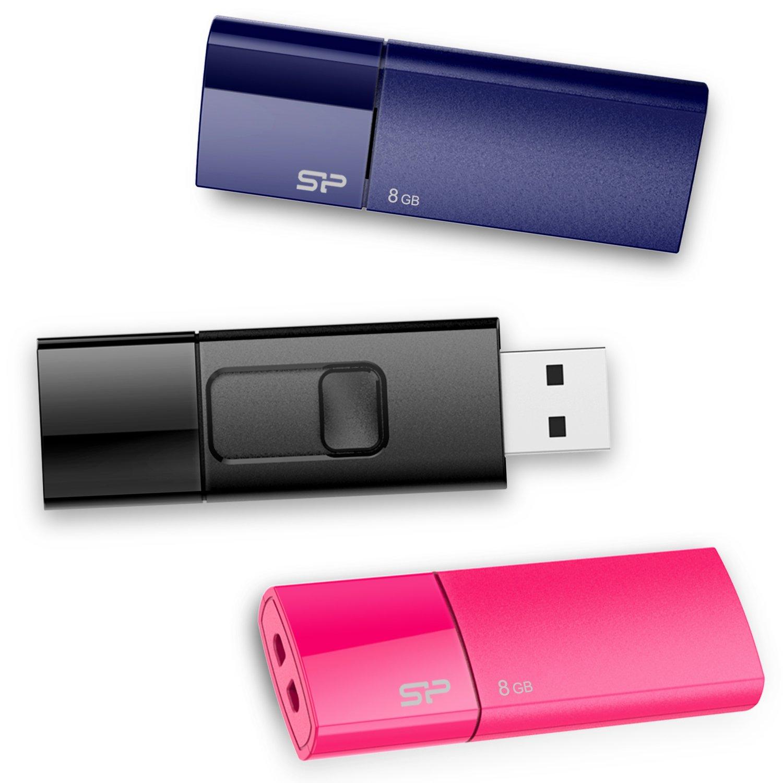 Silicon Power 8GB Flash Drive 3PK Ultima U05 USB 2.0, Blue/Pink/Black (SP024GBUF2U05VCMBT)