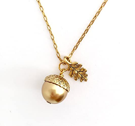 Amazon gold brass acorn pendant necklace etched leaf charm gold brass acorn pendant necklace etched leaf charm 20 inch chain mozeypictures Image collections