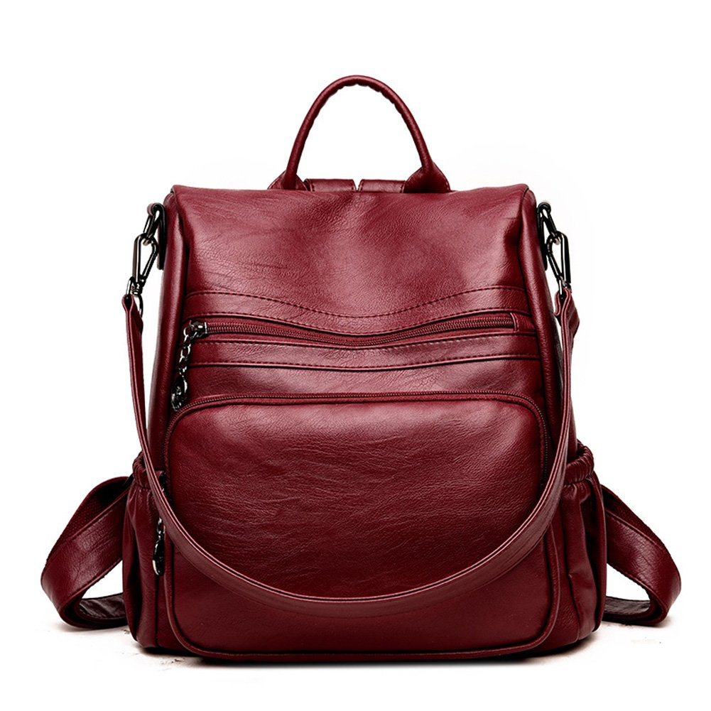 DSLONG Women Backpack Purse Bag Travel Anti-theft Leather Purse and Handbags (wine Red)