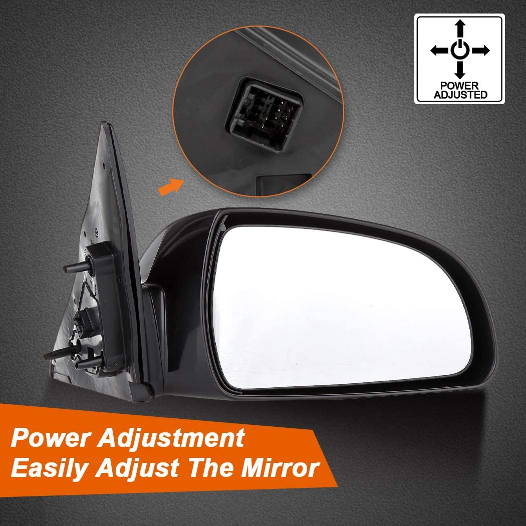 ROADFAR Black Left and Right Side View Mirrors Non-Folding Heated Power Adjustment Fit Compatible with 2006 2007 2008 2009 2010 Hyundai Sonata