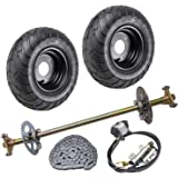 TDPRO Rear Axle Shaft Kit with 13//5.0-6 6 Wheels Tires Rims Brake Assembly and Chain /& Sprocket for Off Road Go Kart Quad Trike Drift Bikes