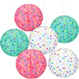 6 Pieces Donut Party Hanging Paper Lanterns Baby Shower Donut Lanterns for Baby Shower Kids Birthday Party Ice Cream…
