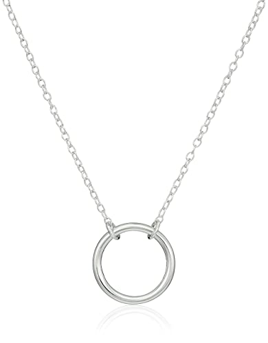 Amazon sterling silver stationed open circle pendant necklace sterling silver stationed open circle pendant necklace mozeypictures Choice Image