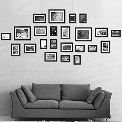 Voilamart Picture Frames Set of 23, Multi Pack Photo Frame Set Wall Gallery Kit - Displaying Three 6R 6x8 in, Nine 4R 4x6 in, Eleven 3R 3x5 in, with ...