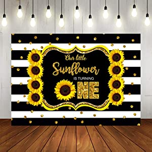 Sunflower Theme 1st Birthday Party Photography Backdrop Our Little Sunflowr is Turning One Photo Background 7x5ft Black and White Stripes Golden Dots Happy First Birthday Party Decoraitons Banner