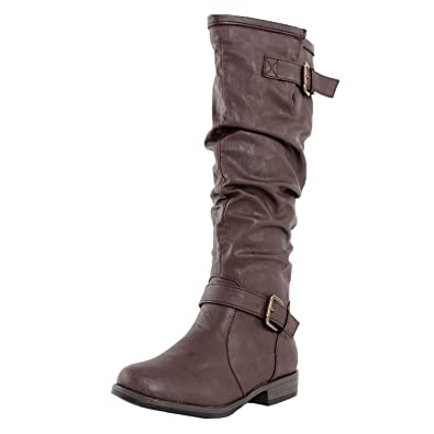 Bamboo Women's Montage 02N Fashion Riding Boots with Buckle, Brown CRP, ...