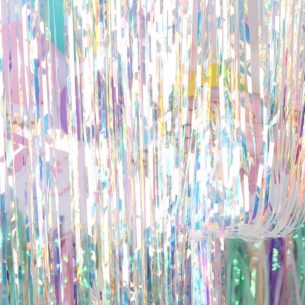 MELADY Pack of 5 Colorful Foil Laser Rain Fringe Curtains Shimmer Curtain for Birthday Wedding Party Christmas Decorations (Length in 2.5M)