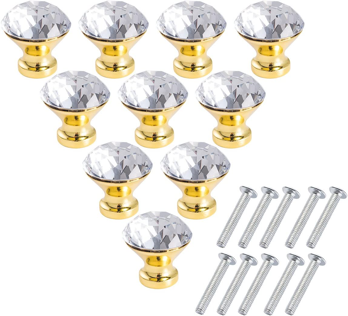 Crystal Glass Cabinet Knobs - LONGWIN 10pcs 30mm Crystal Dresser Cupboard Drawer Handles (Gold)