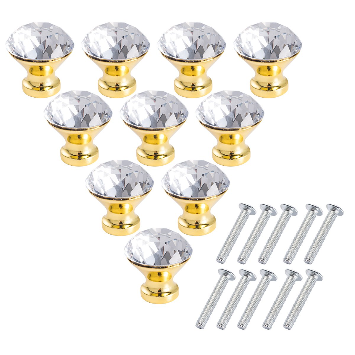 Crystal Glass Cabinet Knobs - LONGWIN 10pcs 30mm crystal Dresser Cupboard Drawer handles (Gold) by LONGWIN (Image #7)