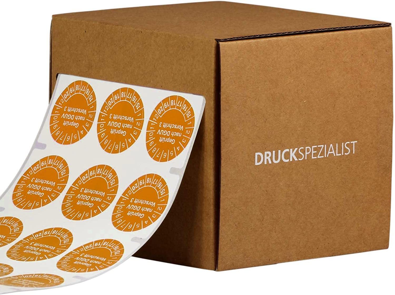 30 mm Durchmesser selbstklebend orange 1000 St/ück DGUV Regel 114-010 2017-22 Pr/üfplakette BGR 186