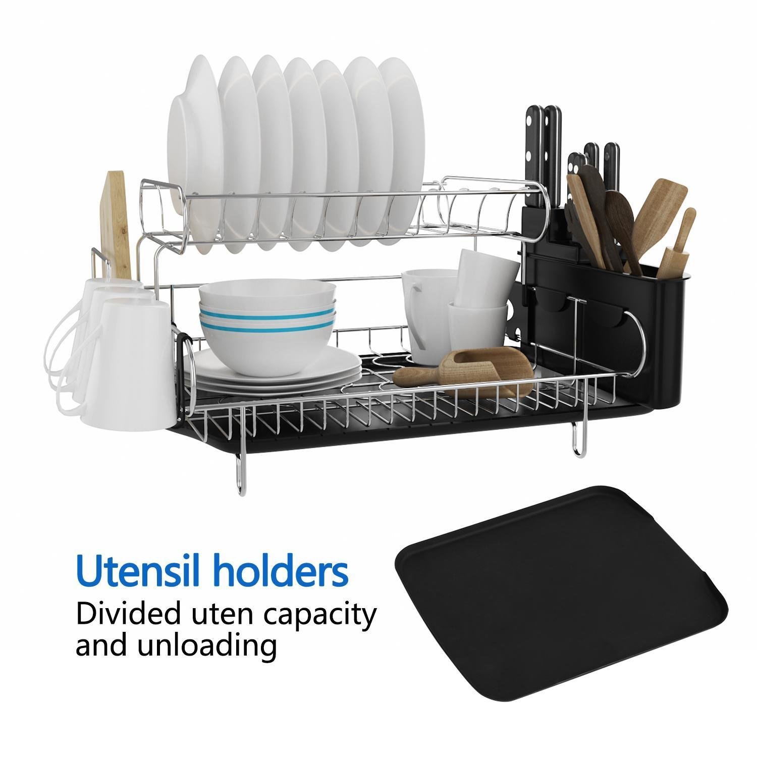 Mewalker 2 Tier Dish Drying Rack 304 Stainless Steel Professional Dish Rack with Microfiber Mat Drain Board and Cutlery Holder, Black by Mewalker (Image #3)