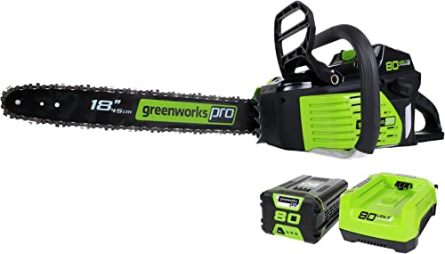Greenworks Pro 80V 18-Inch Cordless Chainsaw, 2Ah Li-Ion Battery and Charger Included GCS80420,Green Black