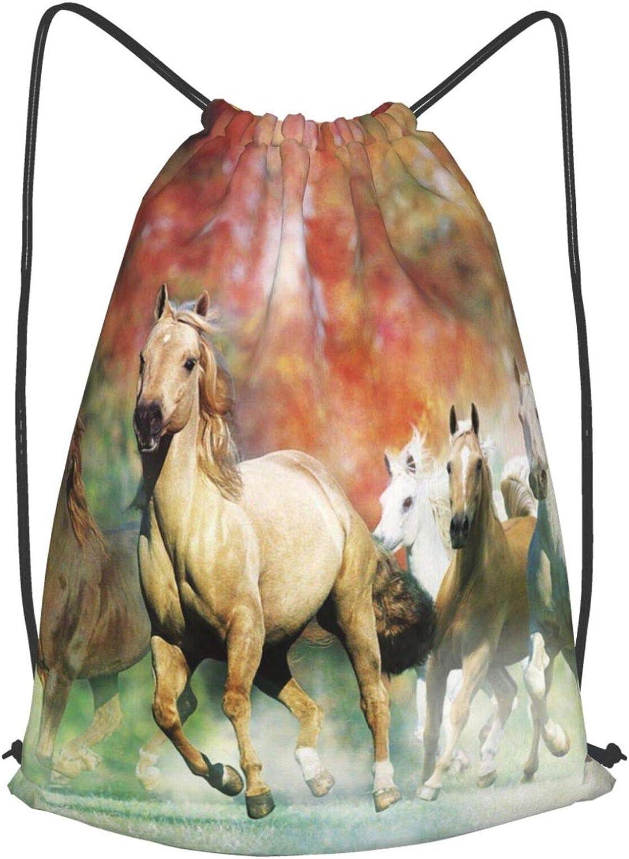 Olverz Mochila de gimnasio con diseño de caballo amarillo, ultraligera, con cordón, suave, resistente a la decoloración, para hombres, mujeres y niños