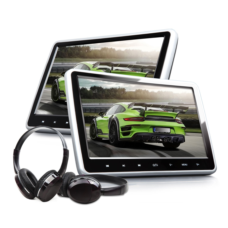 Eonon C1100A Headrest DVD Player 10.1Inch Portable DVD Headrest Monitor for Car Digital Touch Screen Headrest DVD Player with Digital Touch Button HDMI USB SD Port (Two Headrests-Black)