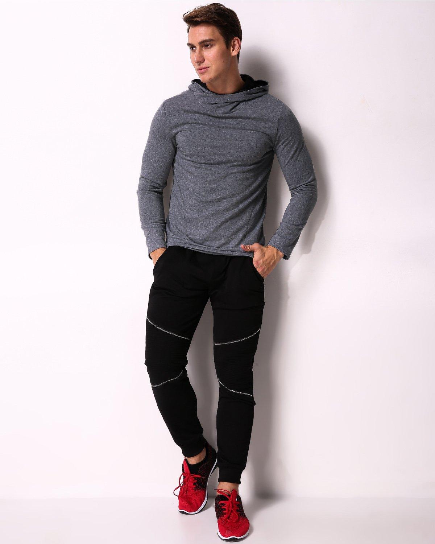 MODCHOK Men's Long Sleeve Hooded T Shirts Cotton Tee Tops Hoodies Sweatshirts Dark Grey XL by MODCHOK (Image #4)