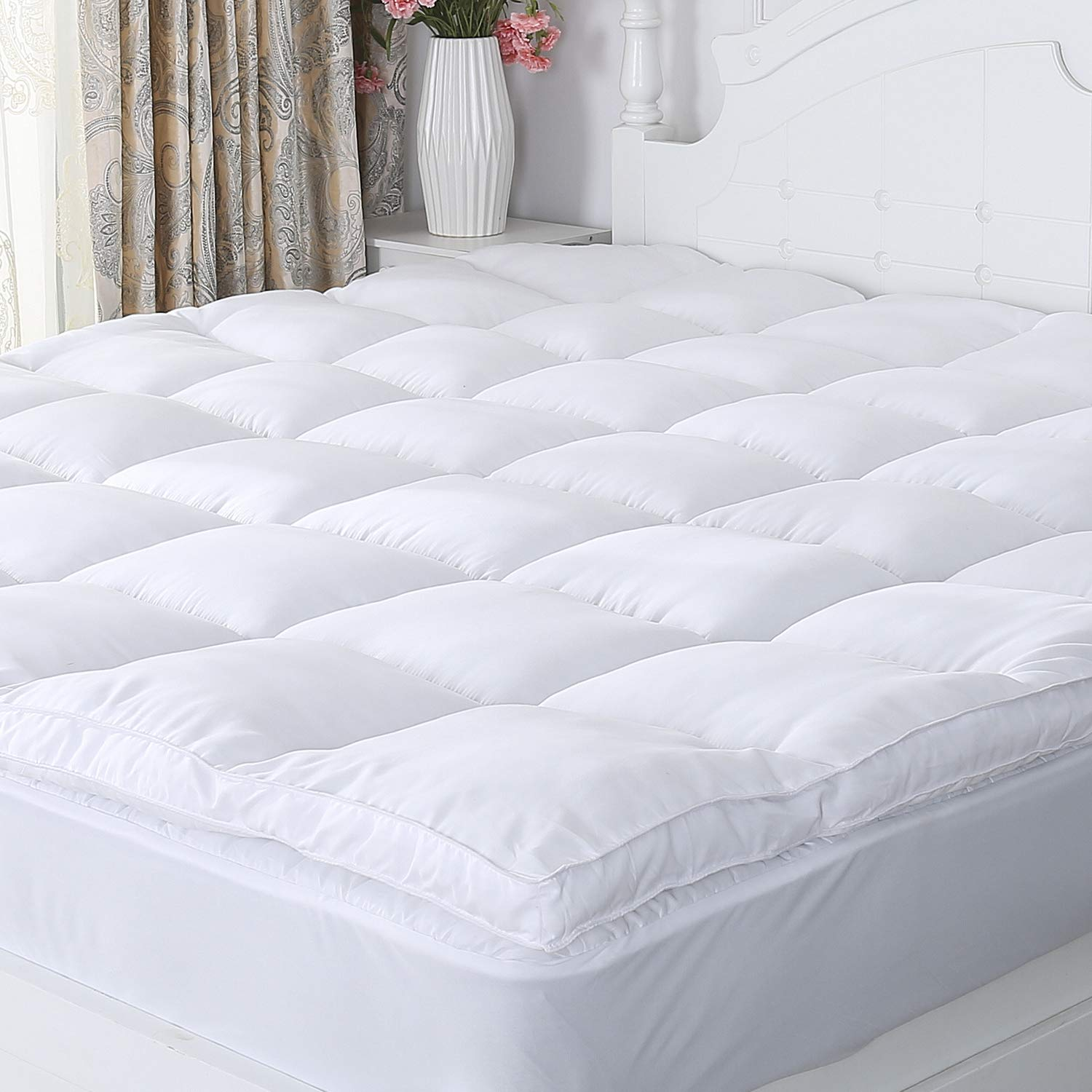 Naluka Mattress Topper Queen Size, Premium Hotel Collection Down Alternative Quilted Featherbed Luxury Microfiber Mattress Pad 2 Inch Thick Mattress Cover(60''80''