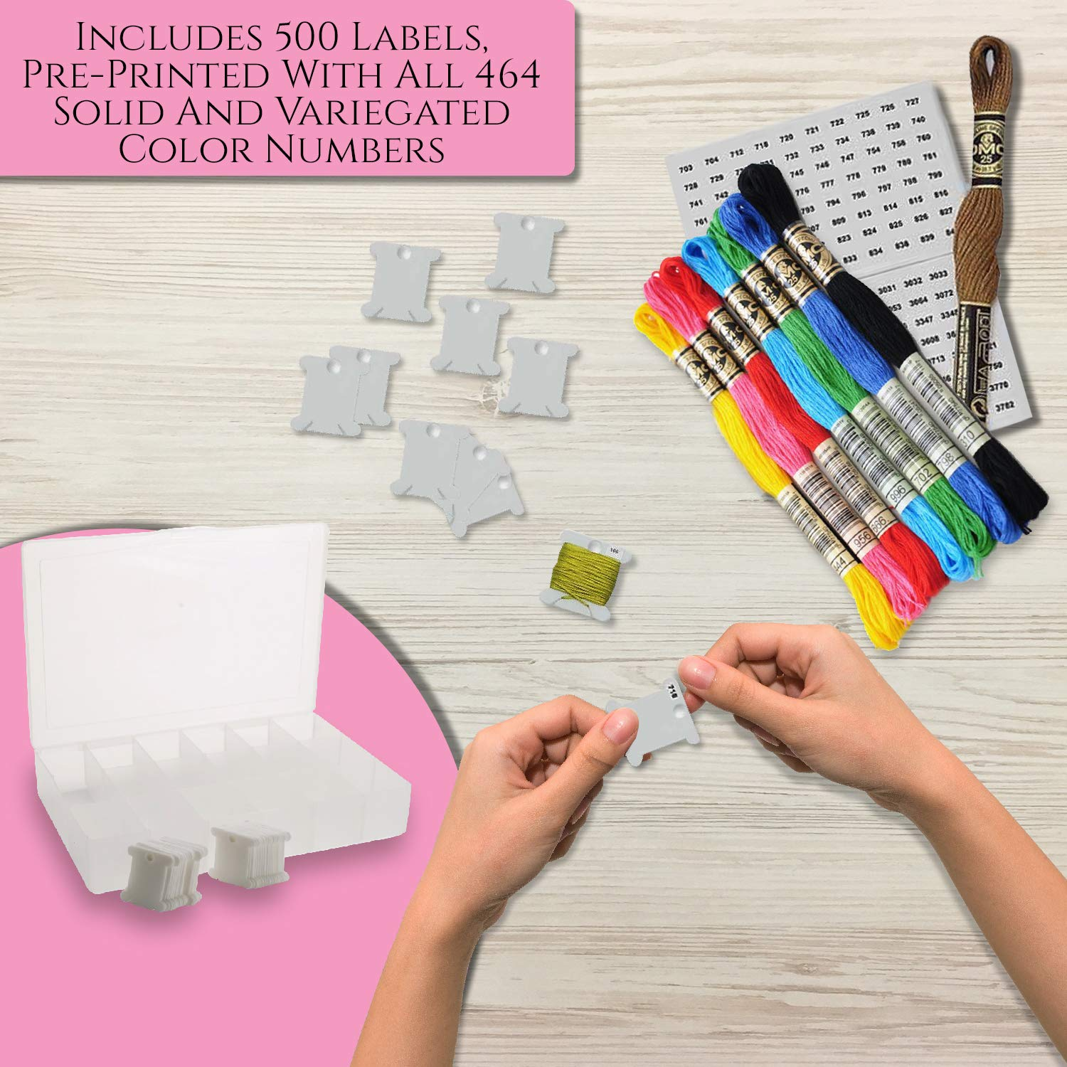 17 Compartments with 100 Hard Plastic Floss Bobbins and 640 Floss Number Stickers. Embroidery Floss Organizer Box Full Set