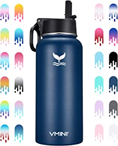 Vmini Water Bottle - Wide Mouth Stainless Steel & Vacuum Insulated Bottle, New Straw Lid with Wide Handle, Blue & 32 oz