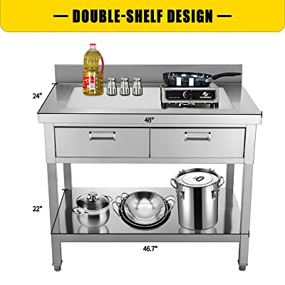 Buy Vevor Commercial Worktable Workstation 24 X 48 In Commercial Food Prep Worktable With 2 Drawers Undershelf And Backsplash 992 Lbs Load Stainless Steel Kitchen Island For Restaurant Home And Hotel Online In Turkey B08zhdns8z