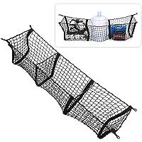 Zone Tech Three Pocket Mesh Storage Net - Black Mesh Three Pocket Trunk Cargo Organizer