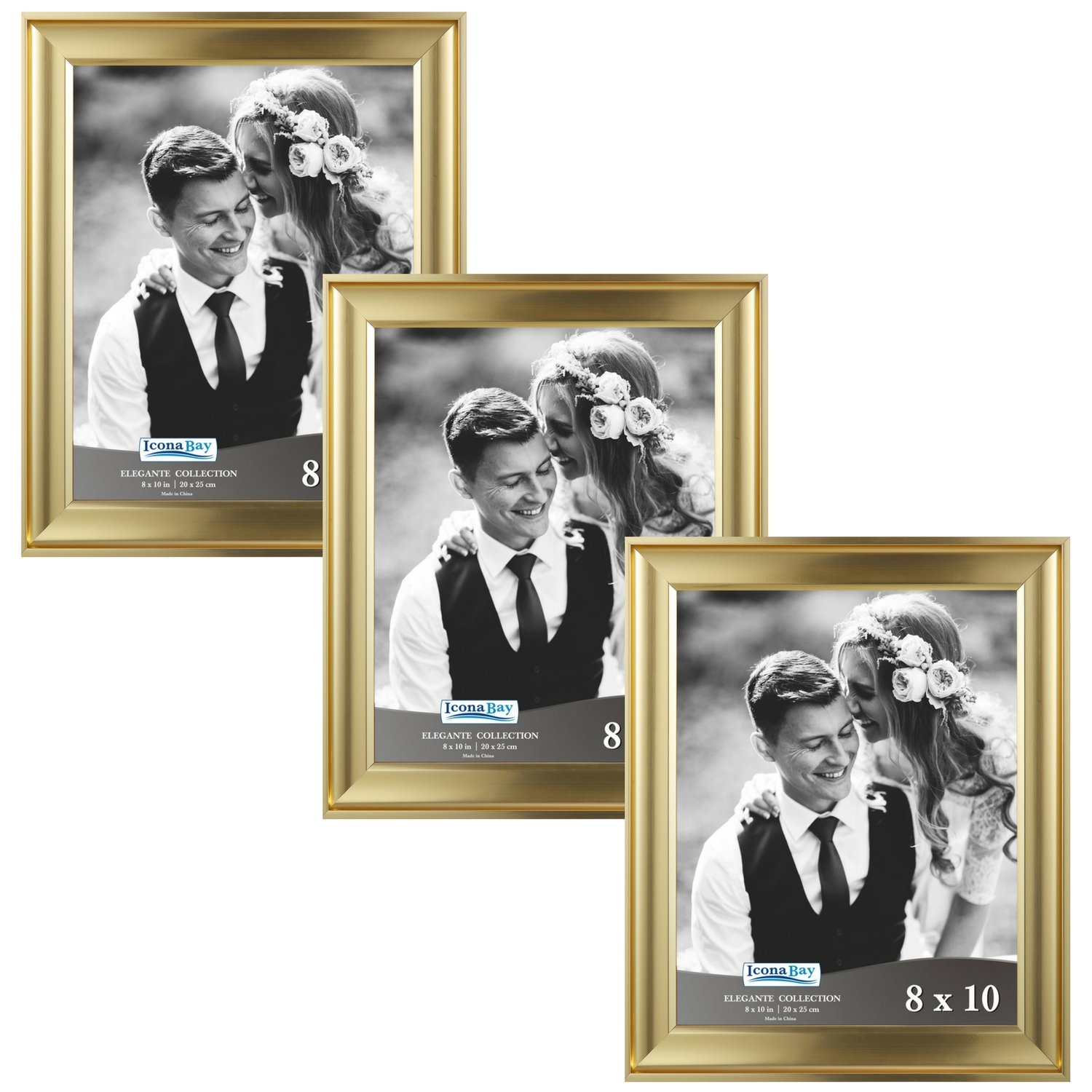 Icona Bay 8 by 10 Picture Frames (8x10, 3 Pack, Gold) Photo Frames, Wall Mount Hangers and Black Velvet Back, Table Top Easel, Landscape as 10x8 Picture Frames or Portrait as 8x10, Elegante Collection