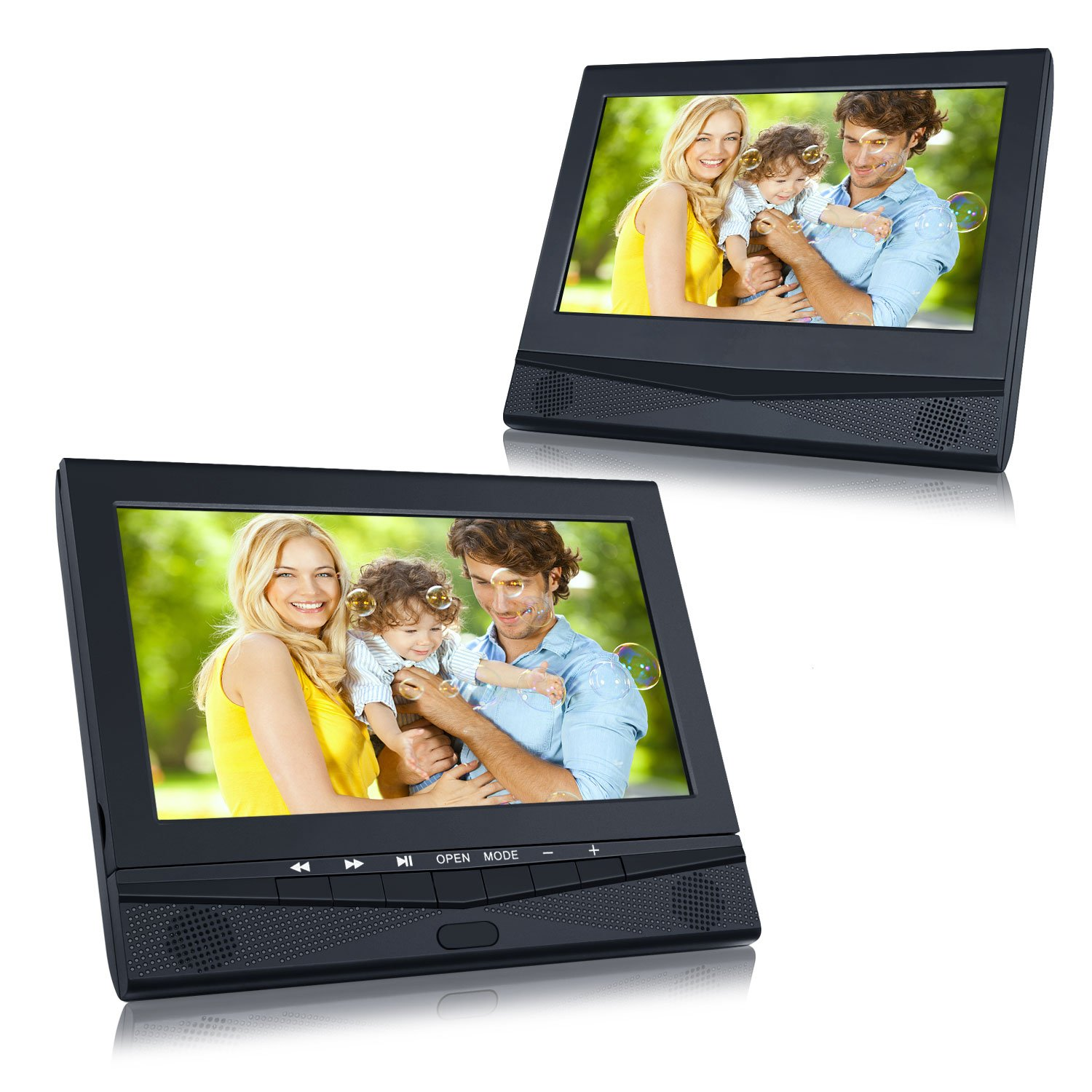 dvd player auto tragbarer fernseher mit 2 10 1 zoll monitore f r mama kinder ebay. Black Bedroom Furniture Sets. Home Design Ideas