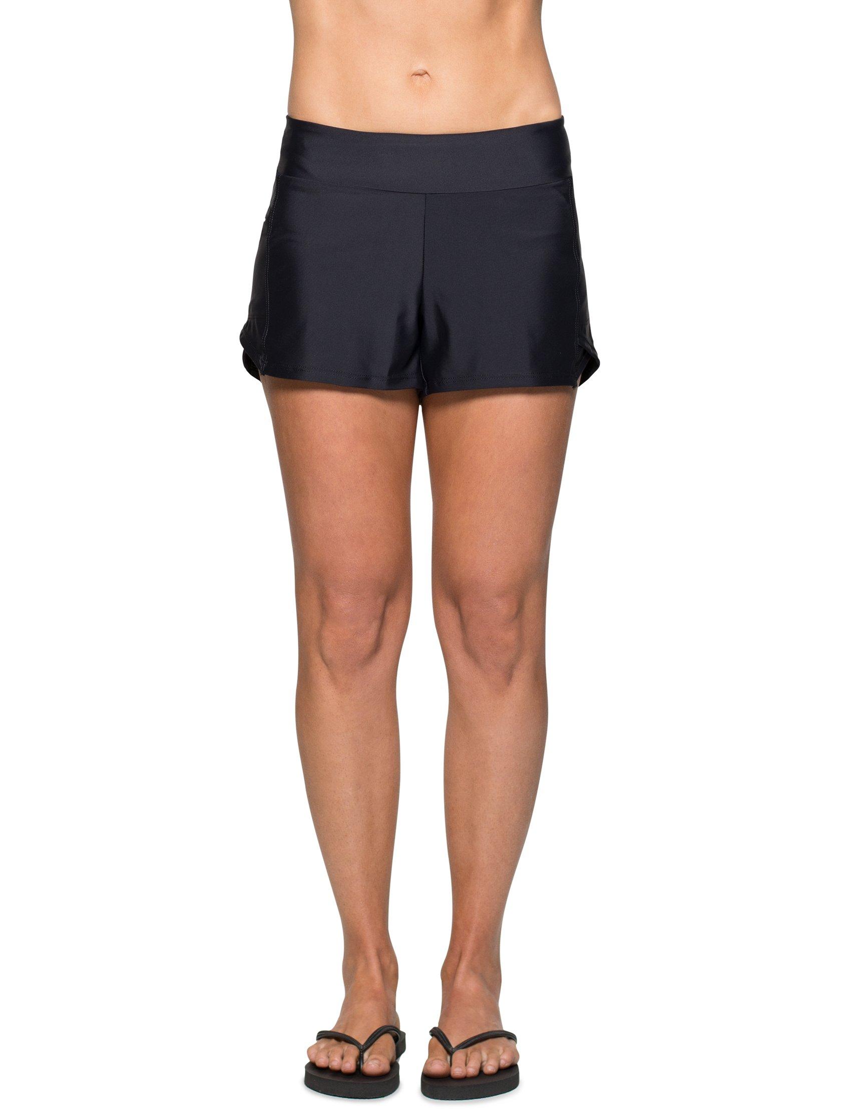 Tuga Women's Swim Board Short (UPF 50+), Black, Medium
