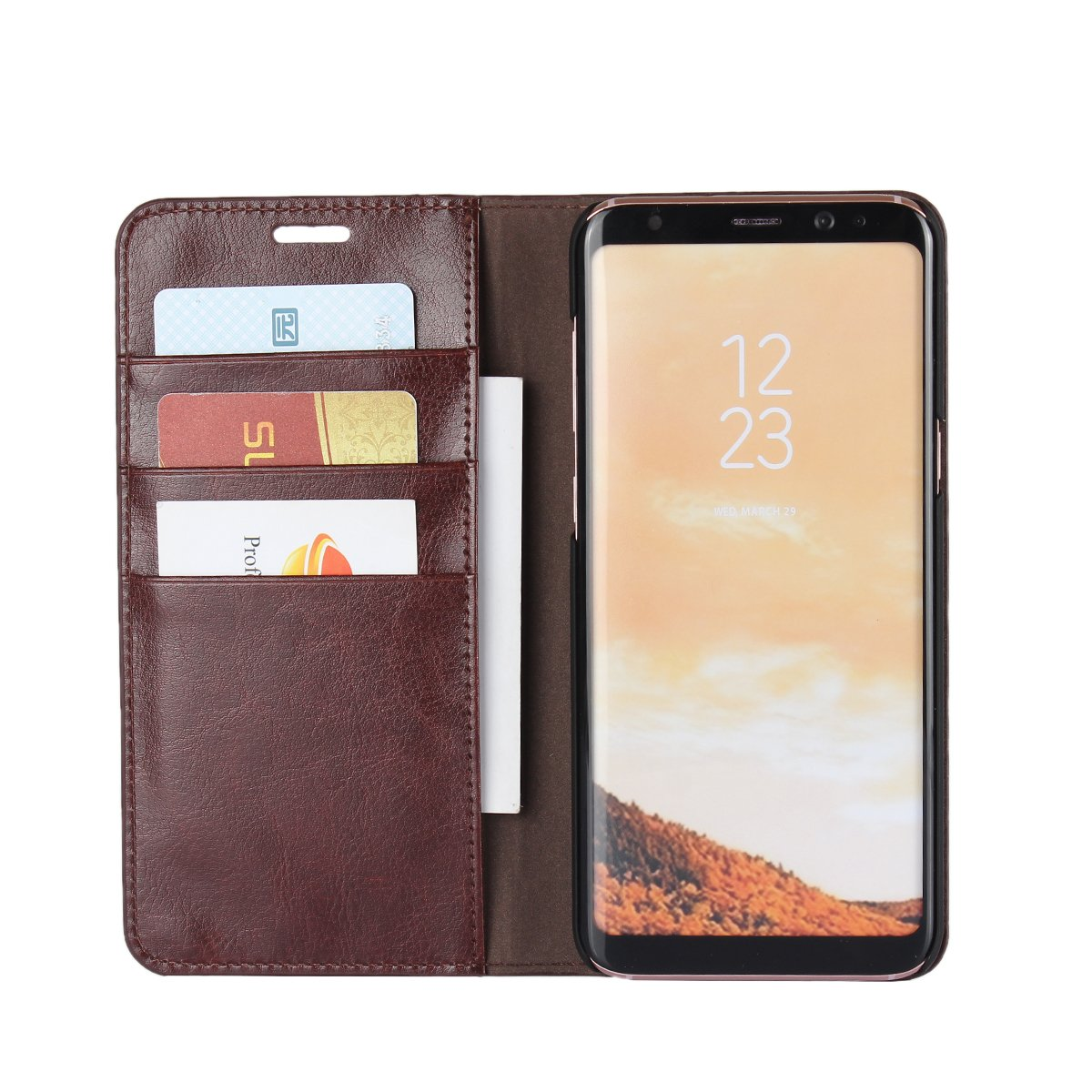 Dark Brown Samsung Galaxy S8 Plus Case,iCoverCase Genuine Leather Wallet Case Folio Book Design with Stand and Card Slots Flip Case Cover for Samsung Galaxy S8 Plus 6.2 inch Slim Fit