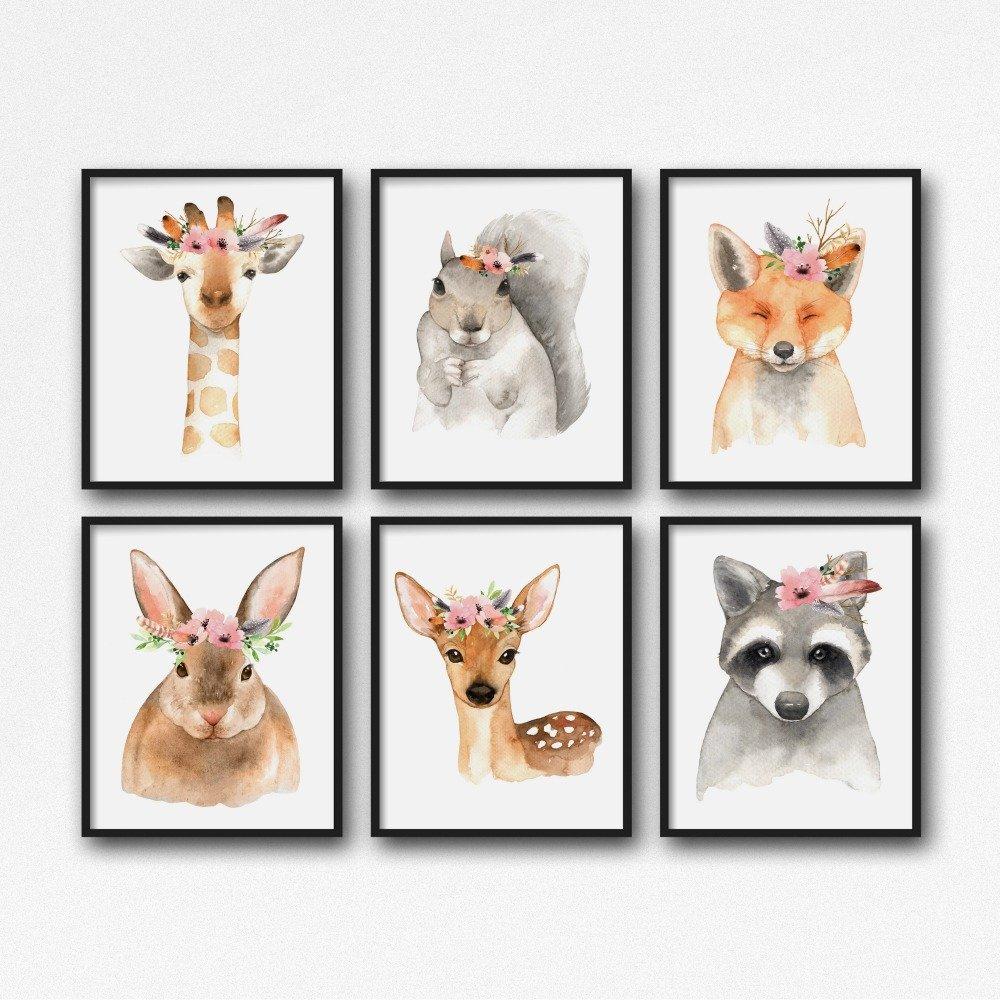 Woodland Nursery Prints, Girl Nursery Art, Woodland Animal Decor, Set of 3 , 4 , 5 or 6 animals