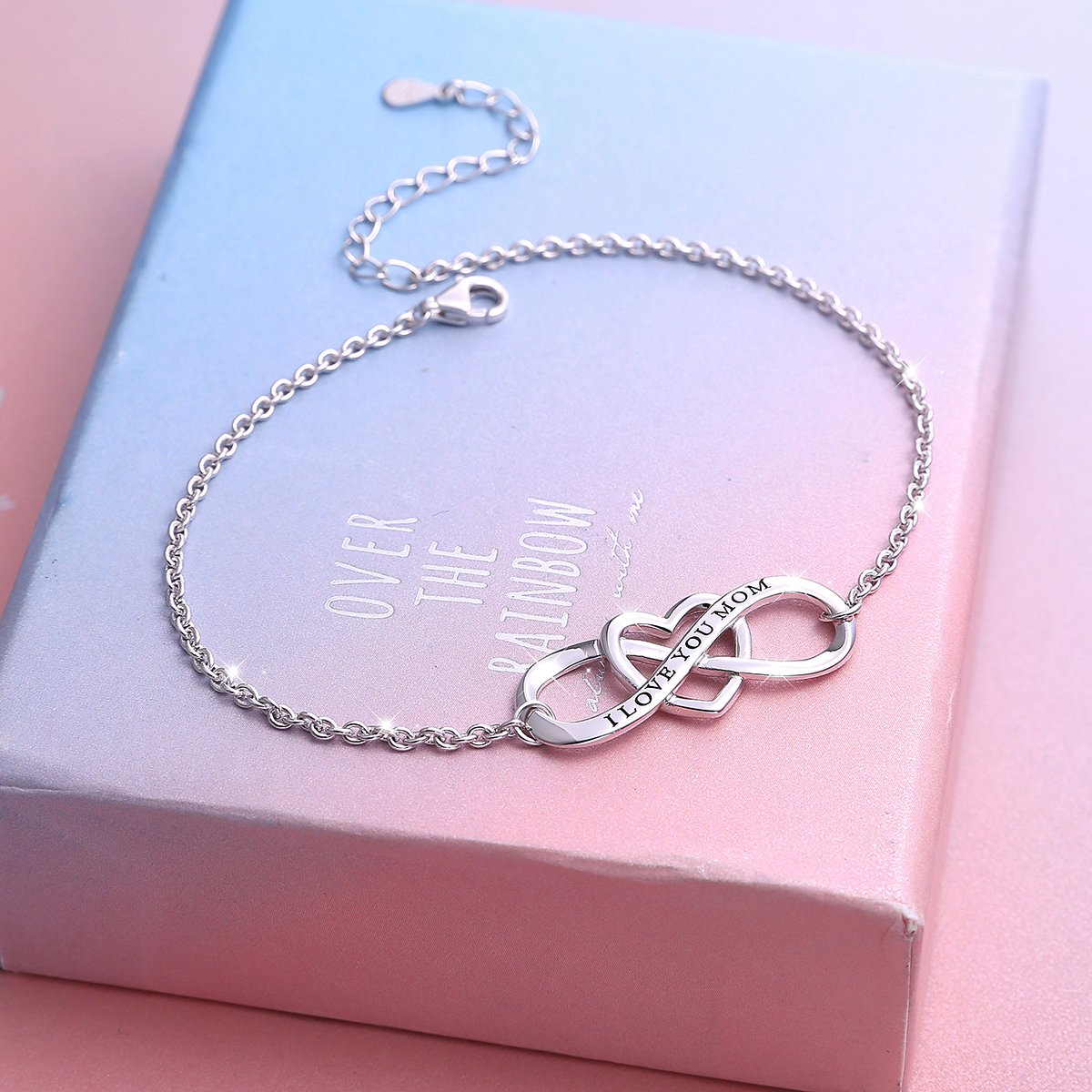 """SILVER MOUNTAIN S925 Sterling Silver """"I Love You Mom """" Heart Infinity Bracelet for Mother by SILVER MOUNTAIN (Image #3)"""