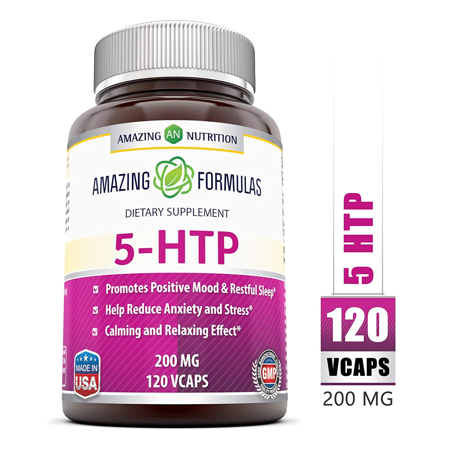 Amazing Nutrition Amazing Formulas 5-htp 200 Mg 120 Vcaps: Amazon ...