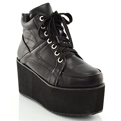 Womens Synthetic Sporty Platform Lace Up Ankle Boots